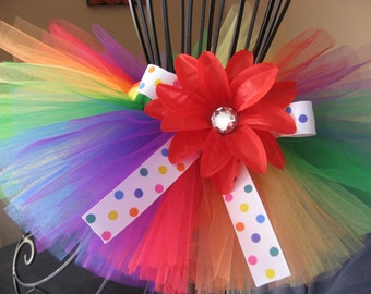 Tiniest Rainbow Kisses Tutu - by Cuddlehugs With Free Coordinating Flower Clip - Newborns Infants