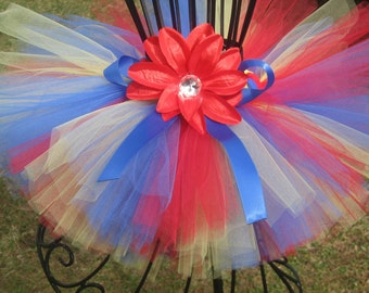Snow White Inspired Tutu by Cuddlehugs With Free Coordinating Flower Clip