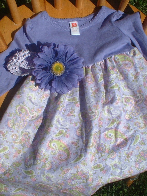 Ready To Ship - Lavender Paisley T-Shirt Dress With Free Coordinating Boutique Headband and Attached Gerbera Daisy - SIZE 6 - 9 Months