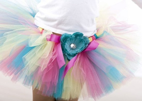 Carousel Confetti Tutu by Cuddlehugs With Free Coordinating Flower Clip