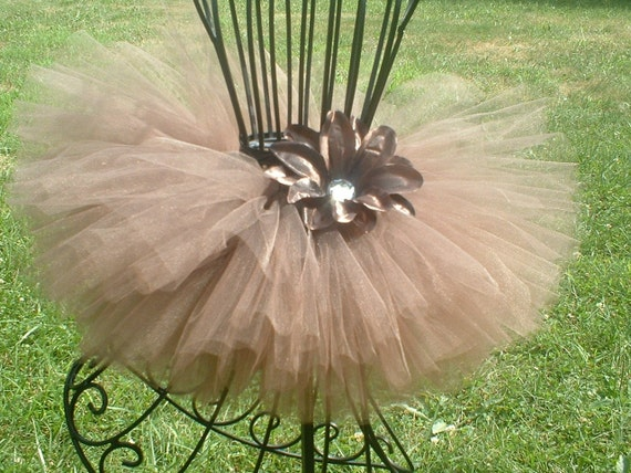 Chocolate Mousse Tutu -  by Cuddlehugs With Free Coordinating Flower Clip