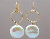 Gold Filled Ring and Coin Pearl Drop Earrings