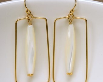 Goldl Filled Rectangles with Mother of Pearl Dangles