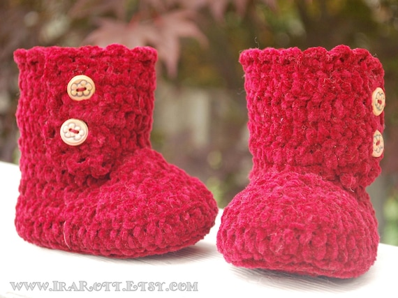 Red Burgundy  Baby Girl Boots with buttons