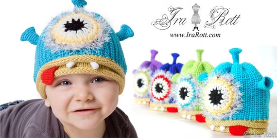 SALE - One Eye Alien Monster Hat for Newborn to Kid Sizes - Ready to ship