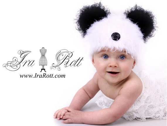 SALE - Fuzzy Panda Bear Beanie - Hat  for Boy or Girl - Ready to Ship