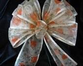 Fall Basket or Wreath Bow,Pumpkin Print