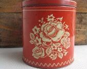 Vintage Large Canister Rose on Red Metal Tin