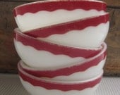 Vintage 1950's Milk Glass Bowls White Red Scalloped Design Corning Dinnerware
