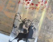 Vintage Antler Deer Stag and Doe Silhouette in the Mountains Glass Hazel Atlas