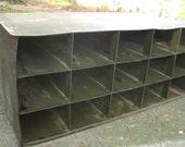 Vintage Industrial Storage Metal Cabinet Shelving Letter Sorting Organzer Mid Century Style