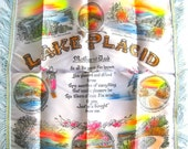 Vintage 1940s Lake Placid New York Souvenir Silk Pillowcase