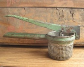 Vintage Potato Ricer Green Metal Rustic Country Farmhouse Cottage