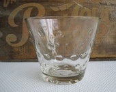 Vintage Clear Glass Vase Bowl with Raised Dot Pattern