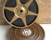 Reserved Vintage Faux Bois Film Reel Canister with Home Movies