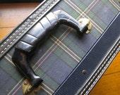Vintage Blue Plaid Suitcase with Lock and Keys