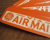 Vintage Air Mail GE Gummed Labels in Orange and White set of 8
