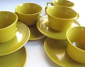 Vintage Golden Mustard Melamine Cups Plates Sugar Creamer Allied Chemical