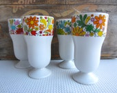 Vintage Retro Colorful Flower Parfait Cups Japan set of Four