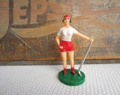Vintage Golfer Cake Topper Birthday for Her Woman