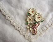 Vintage White Flowers in A Pink Sparkle Vase Brooch