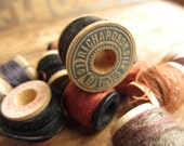 Vintage Silk Spools of Thread Wooden Rustic Brown Collection 10 Spools