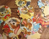 Scalloped Round Die Cuts Nine Rabbits and Another from 1957 Vintage Children's Book