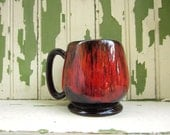 Vintage Mug Red Drip Glaze Over Chocolate Brown Evangeline Canuck Canada Pottery