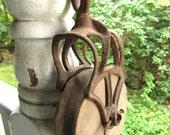 Vintage Farmhouse Metal Pulley Wood Wheel Rustic Industrial Decor
