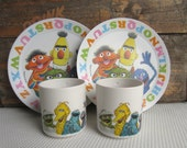 Vintage 1977 Sesame Street Cups and Plates ABC Muppets Inc