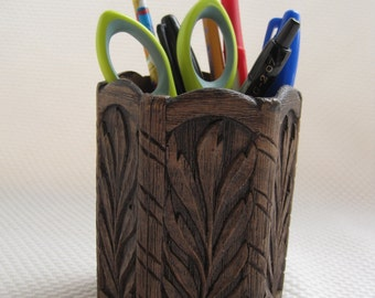 Vintage Faux Bois Pencil Holder - Desk Organizer