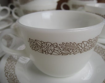Vintage Pyrex Woodland Brown Cups and Sauce