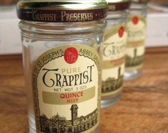 Vintage Box of Trappist Jams and Jellies Glass Jars Craft Storage Containers