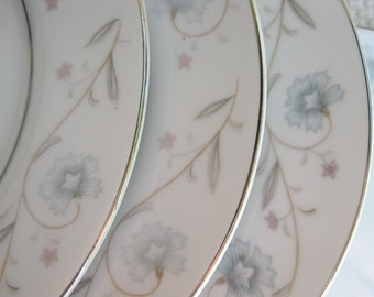 Vintage Bread and Butter Plates English Garden Platinum by Fine China of Japan