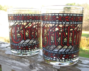 Vintage Christmas Decoration Sale Houze Season's Greetings Stained Glass Tumblers set of 2