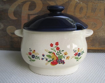 Vintage Colorful Fruit and Flowers Soup Tureen made in Japan