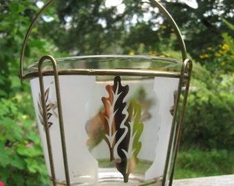 Vintage Mid Century Golden Leaves on Frosted Glass Ice Bucket G. Reeves