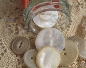 Vintage Ball Jar filled with Mother of Pearl Shell Buttons