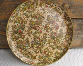 Vintage Colorful Dots on Greens Tray Made in Japan