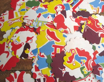 Scalloped Round Die Cuts Vintage Primary Colors Fireman Dalmation From 1938 Children's Book