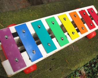 Vintage 1978 Fisher Price Xylophone Pull Along and Play A Tune