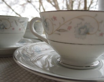 Vintage English Garden Platinum by Fine China of Japan Tea Cups and Saucers