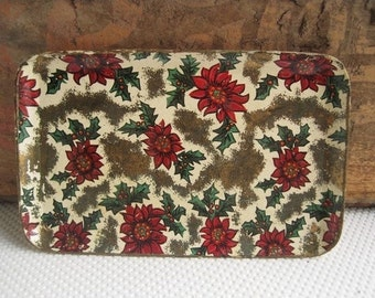 Vintage Christmas Holiday Trays Poinsettia and Holly