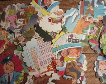 Scalloped Round Die Cuts 1948 The Magic Bus from Vintage Children's Book Tibor Gergely