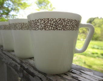 Vintage Pyrex Woodland Brown Milk Glass Mugs set of 4