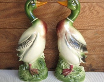 Vintage Pair Ceramic Mallard Ducks made in Japan