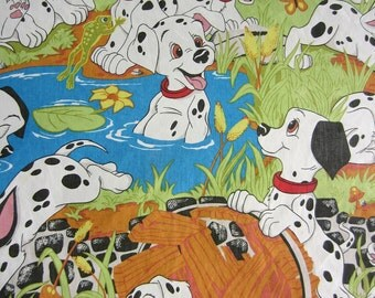 Vintage Disney Dalmatian Twin Sheet Set Flat Fitted and 2 Pillowcases