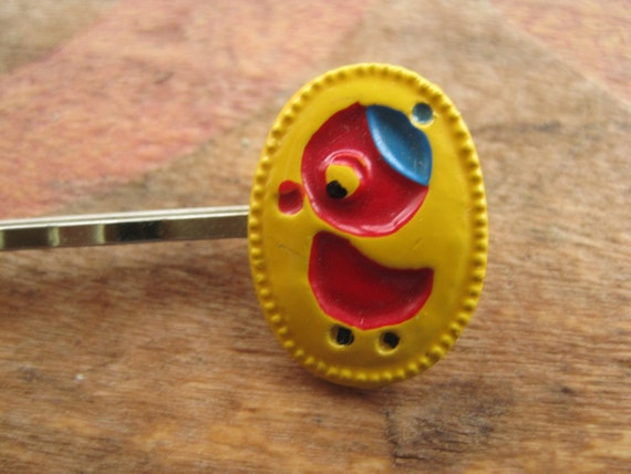 Reserved Vintage Red Duck Blue Beanie on Yellow Sweet Enamel Bobby Pin Hair Accessory