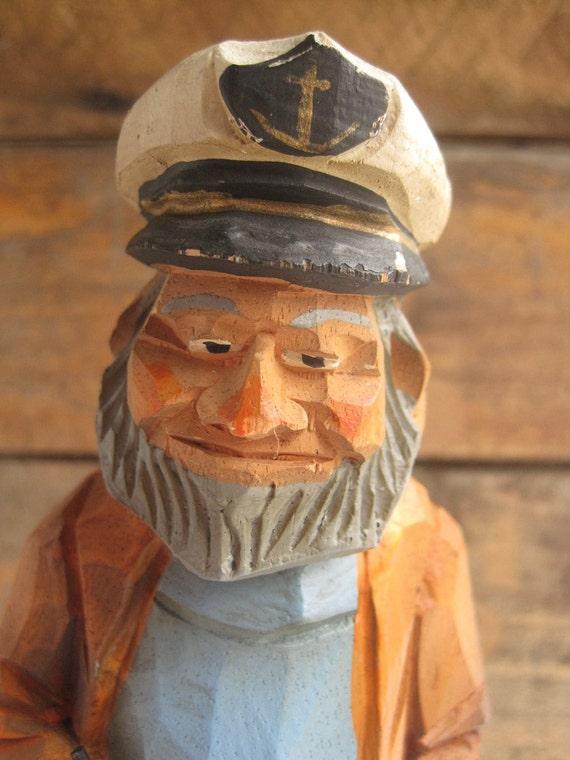 Vintage sea captain salty dog wood carved sailor folk figure