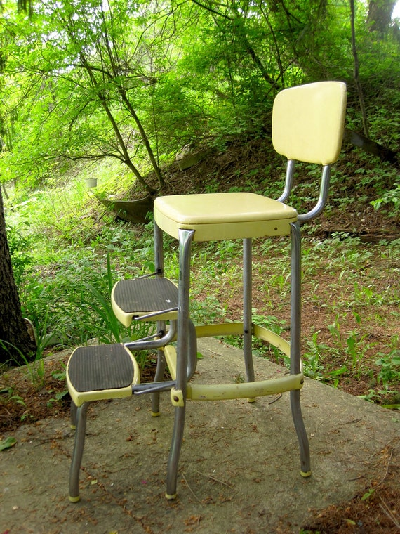 Vintage 1950s Stylaire Chair Fold Out Step Stool Yellow And